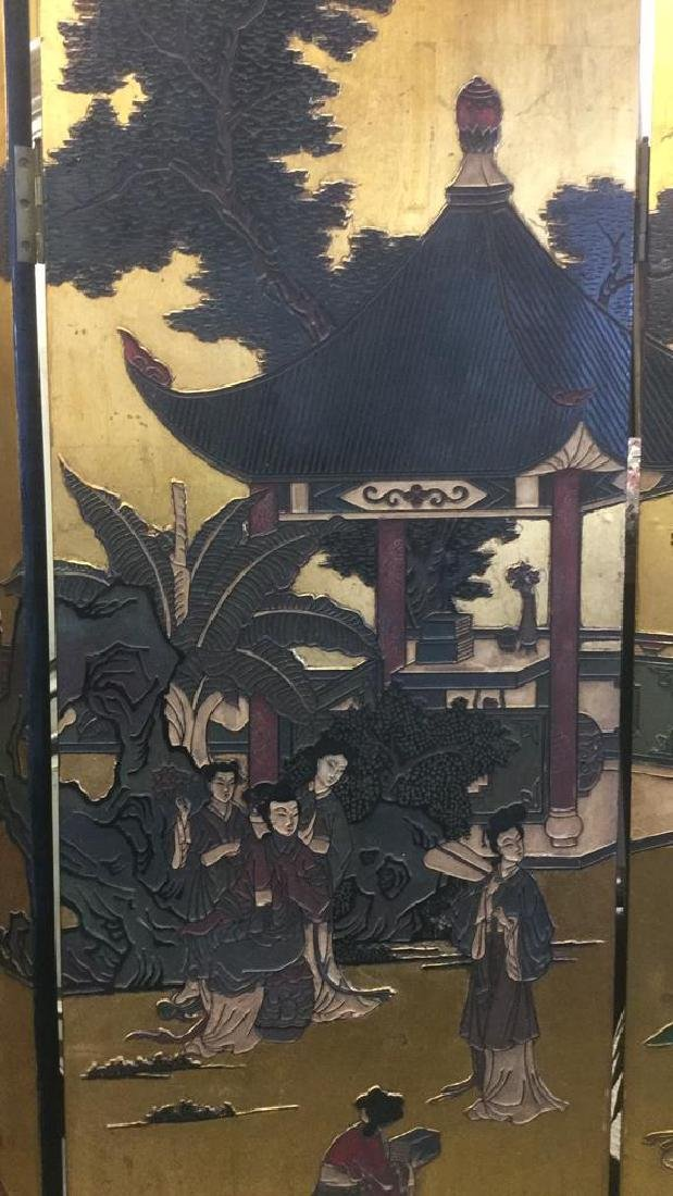 Antique Six Panel Lacquered Chinese Screen - 2