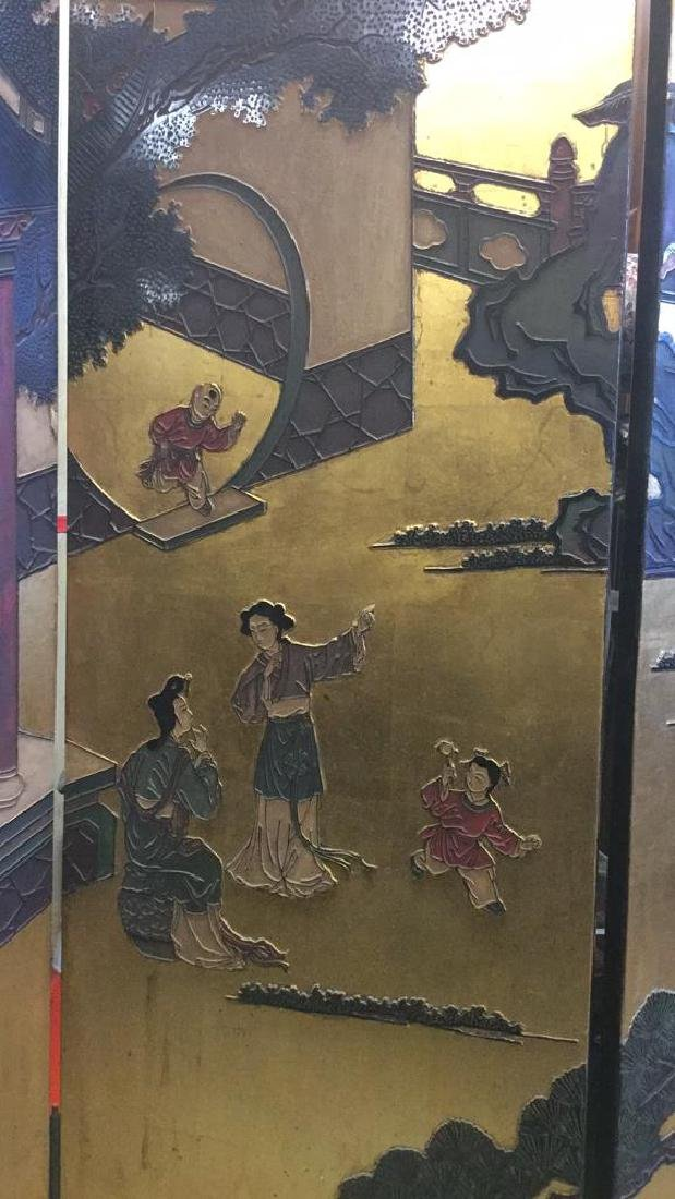 Antique Six Panel Lacquered Chinese Screen - 7