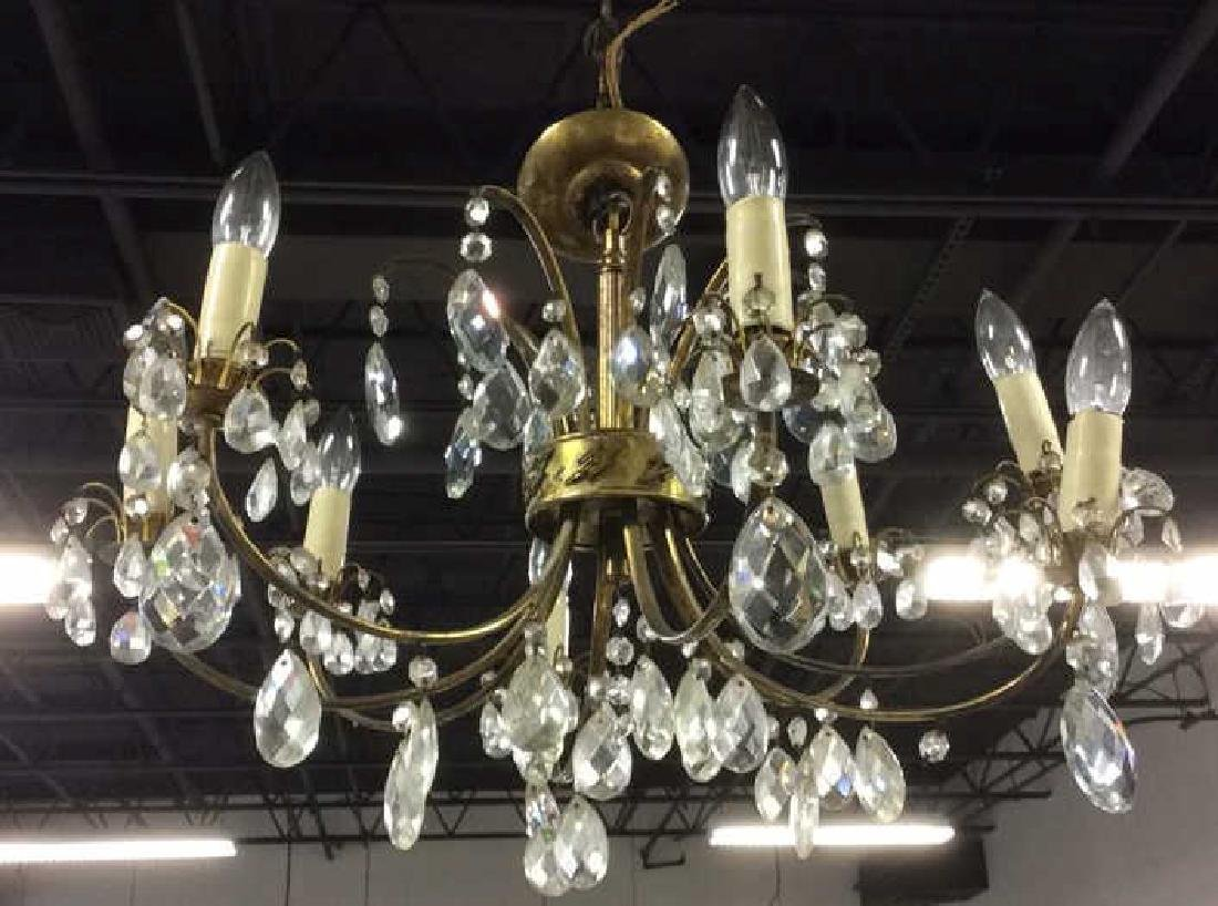 8 Arm Metal Brass & Crystal Chandelier