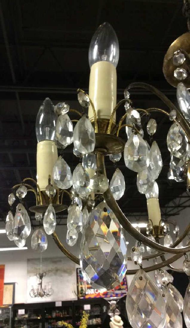 8 Arm Metal Brass & Crystal Chandelier - 2