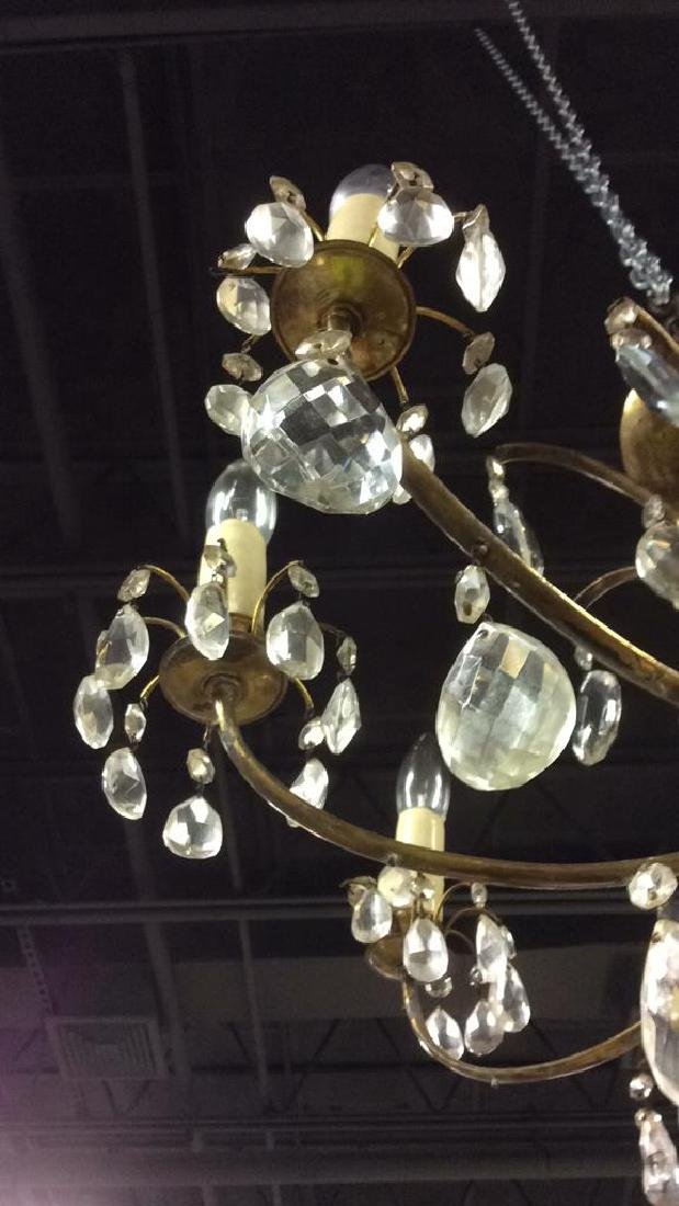 8 Arm Metal Brass & Crystal Chandelier - 9