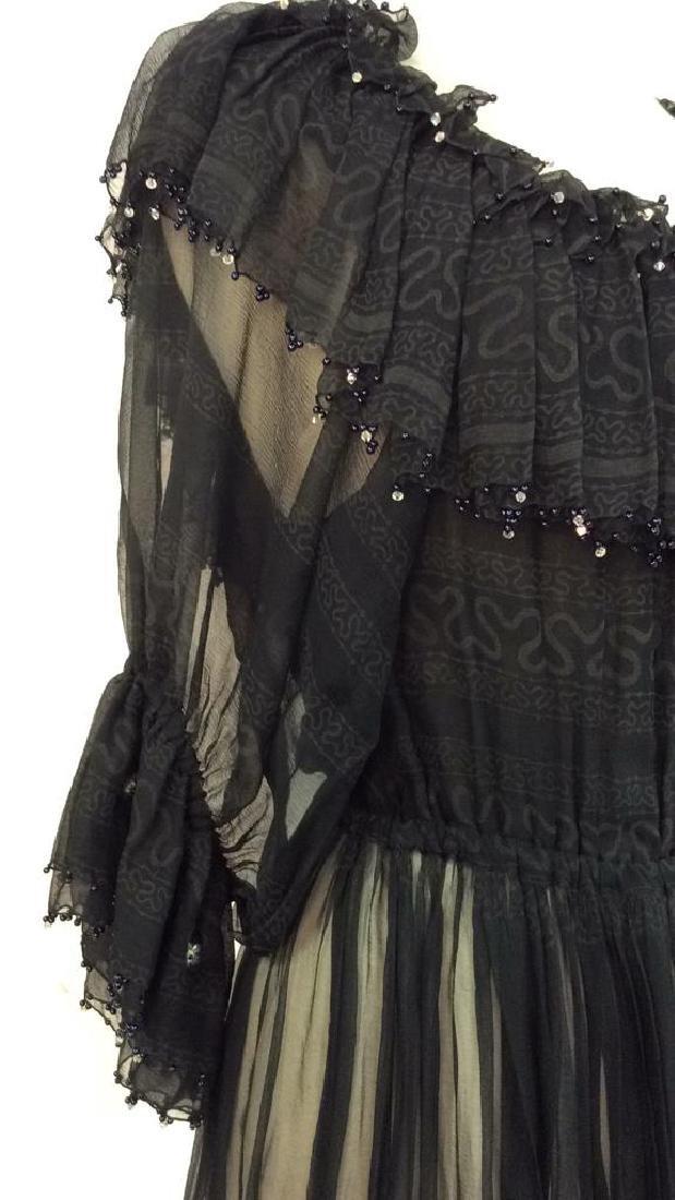 KRIZIA Vintage Black Sheer Ruffle Cocktail Dress - 10