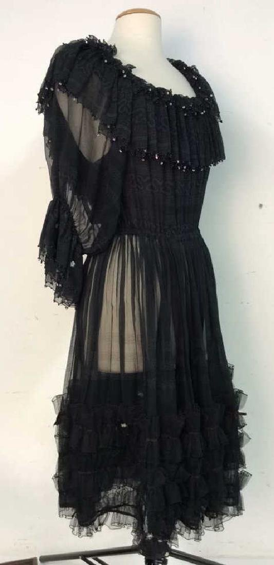 KRIZIA Vintage Black Sheer Ruffle Cocktail Dress