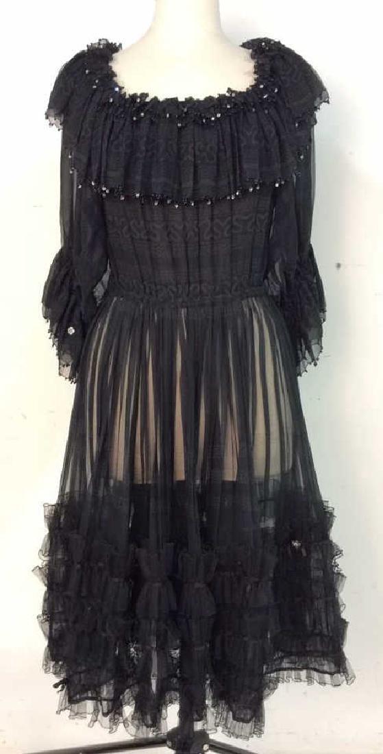 KRIZIA Vintage Black Sheer Ruffle Cocktail Dress - 2