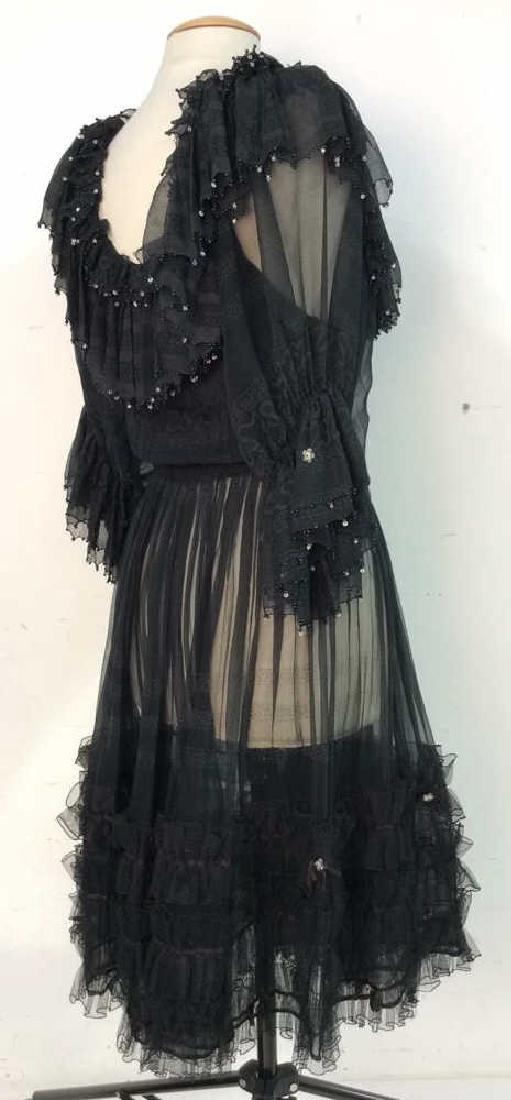 KRIZIA Vintage Black Sheer Ruffle Cocktail Dress - 3