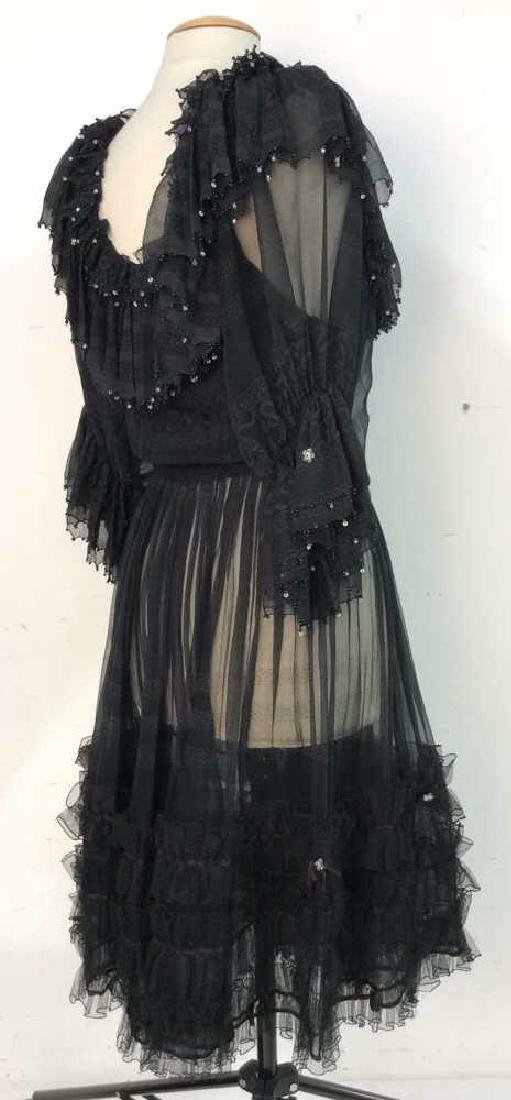 KRIZIA Vintage Black Sheer Ruffle Cocktail Dress - 3