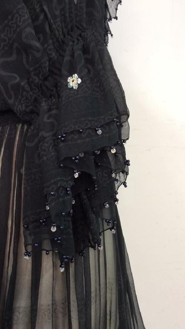 KRIZIA Vintage Black Sheer Ruffle Cocktail Dress - 4