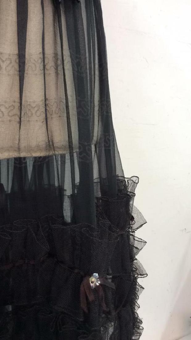 KRIZIA Vintage Black Sheer Ruffle Cocktail Dress - 6
