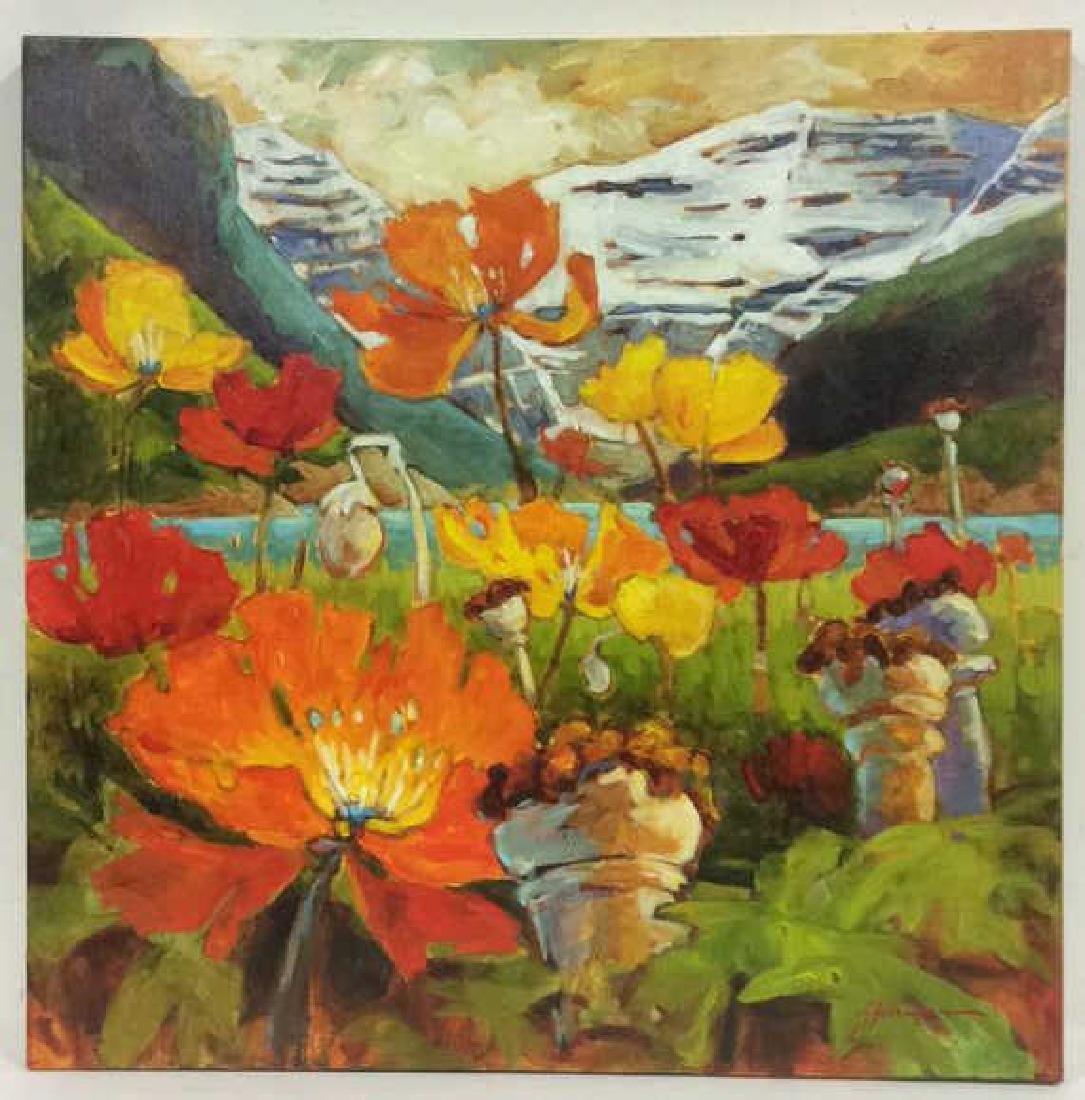 Signed GAIL JOHNSON ICELANDIC POPPIES Painting