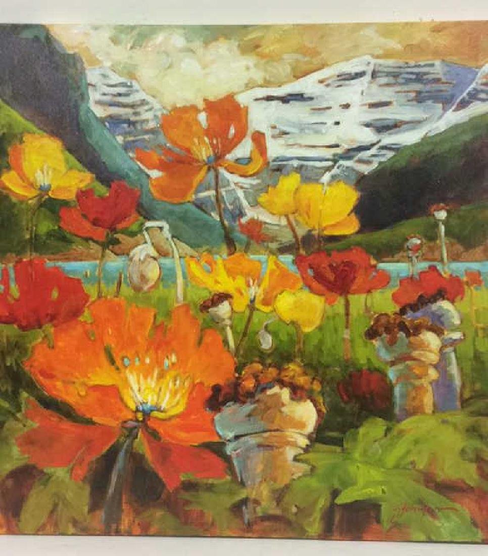 Signed GAIL JOHNSON ICELANDIC POPPIES Painting - 2