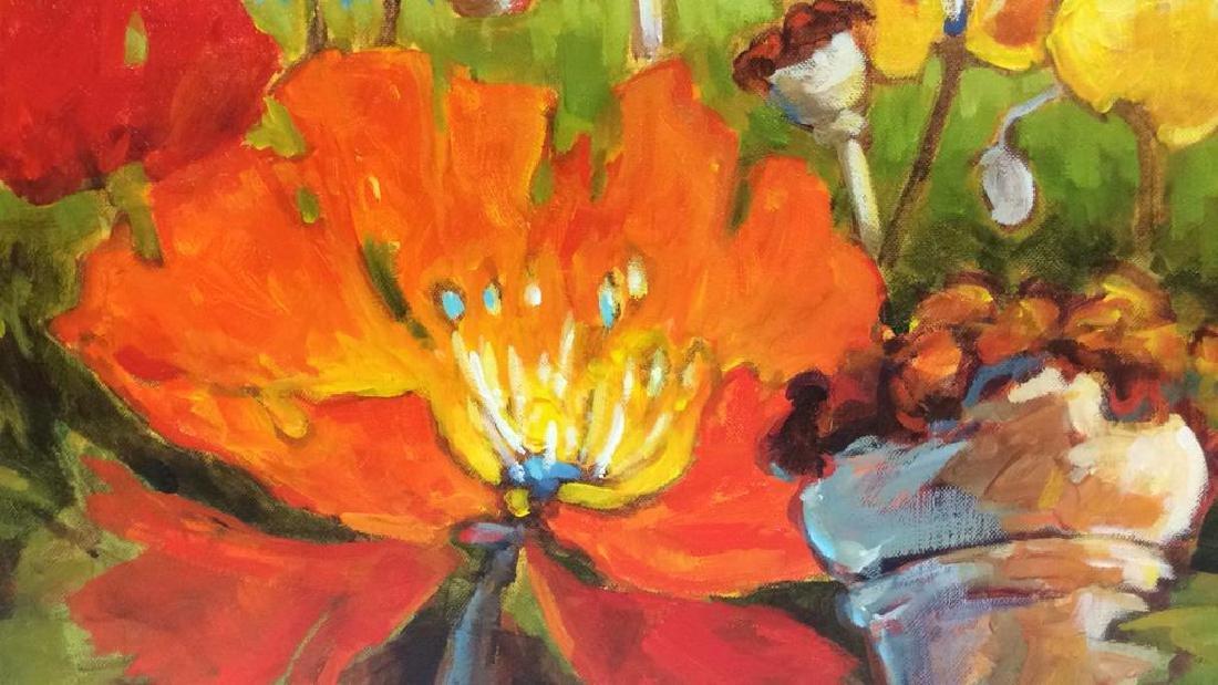 Signed GAIL JOHNSON ICELANDIC POPPIES Painting - 9