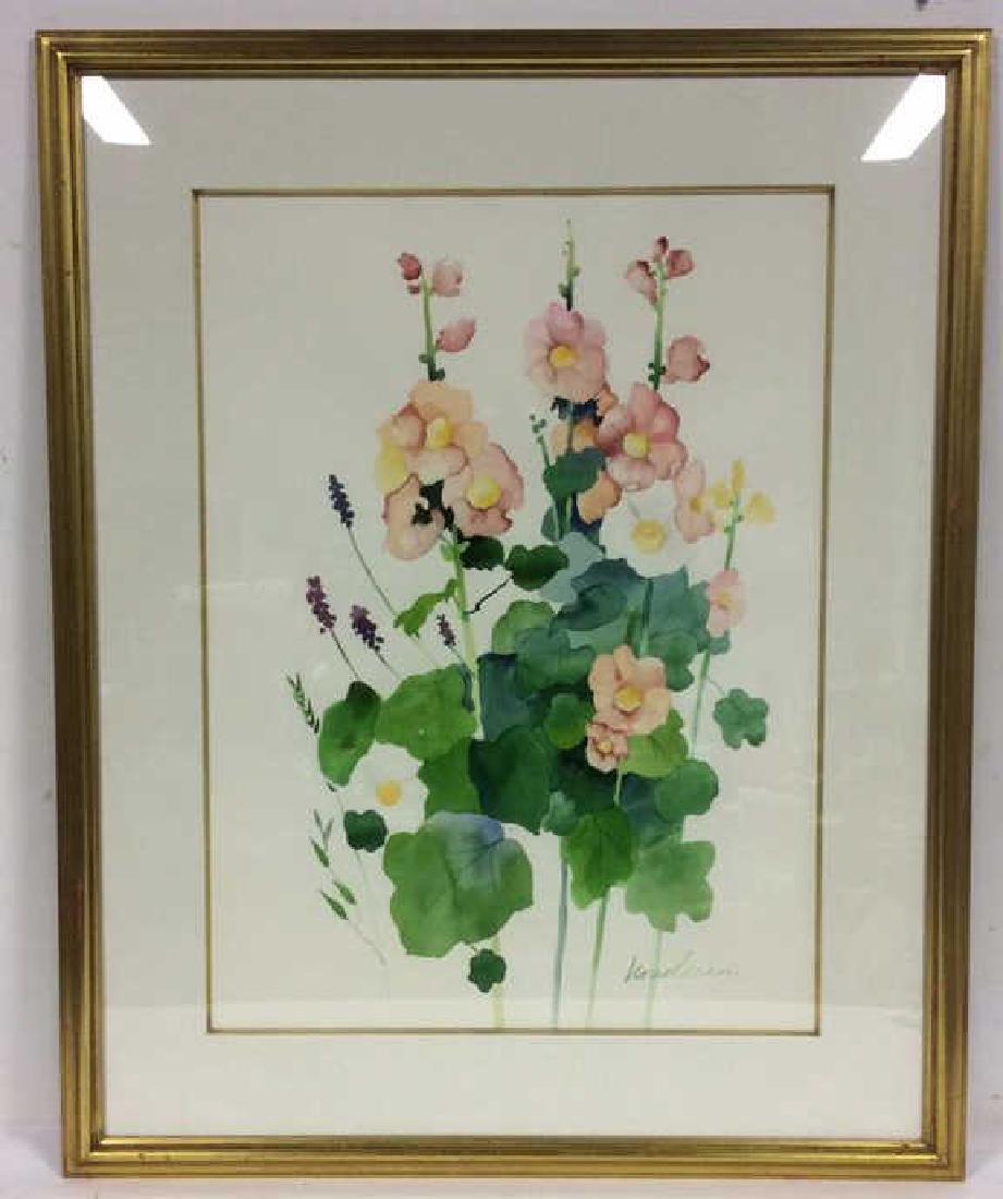 HENDERSON Framed Floral Water Color On Paper