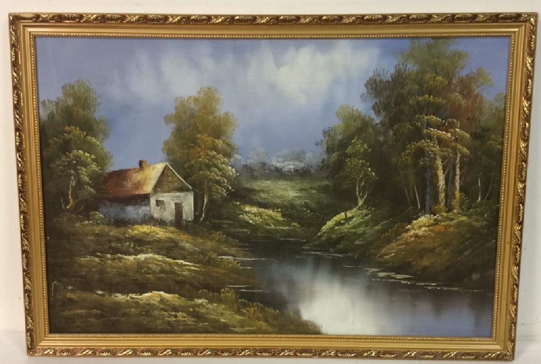 Framed Landscape Acrylic On Canvas
