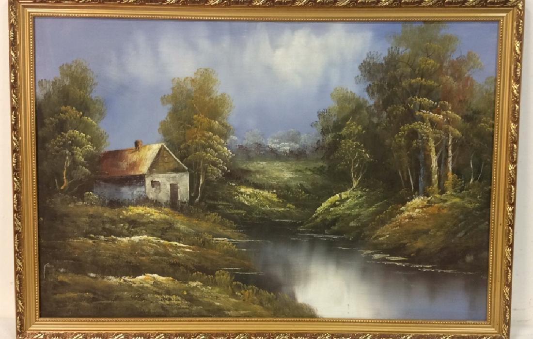 Framed Landscape Acrylic On Canvas - 2