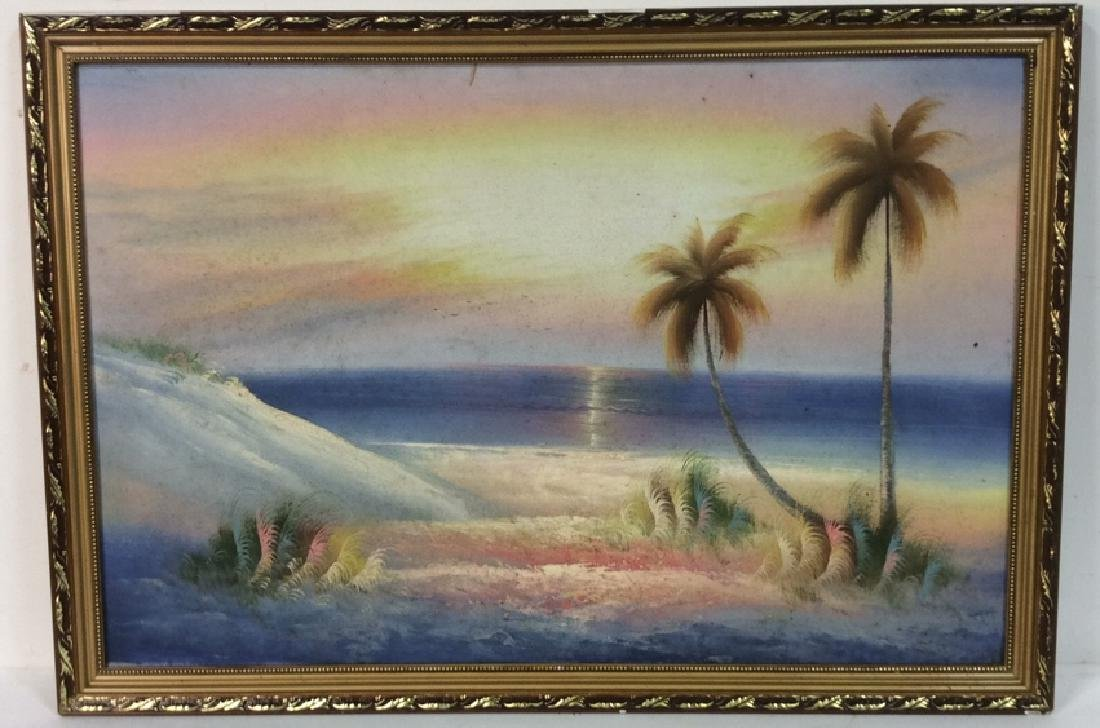 Framed Beach Sunset Landscape Painting On Canvas