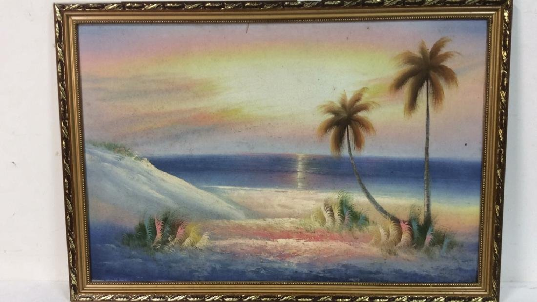 Framed Beach Sunset Landscape Painting On Canvas - 2