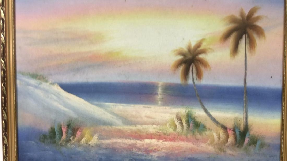 Framed Beach Sunset Landscape Painting On Canvas - 3