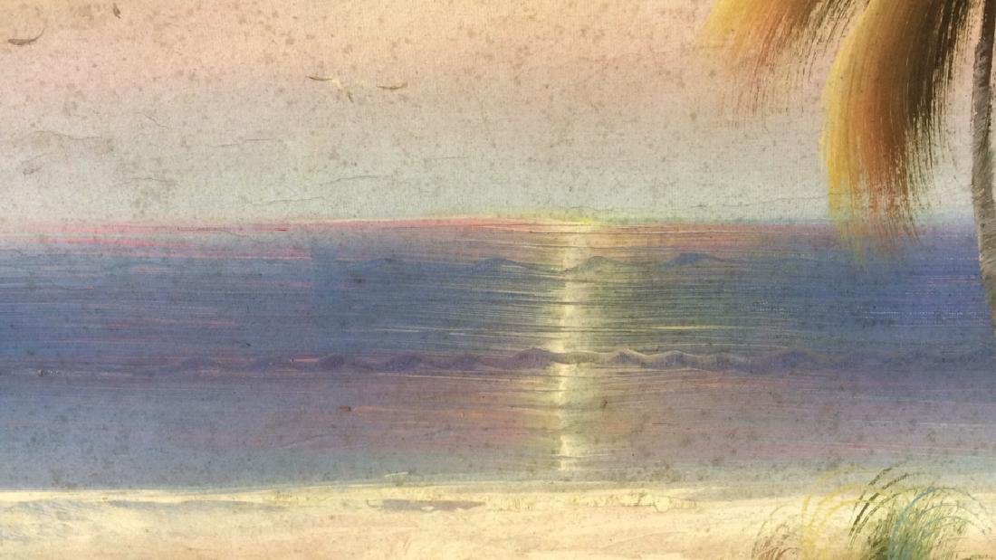 Framed Beach Sunset Landscape Painting On Canvas - 7