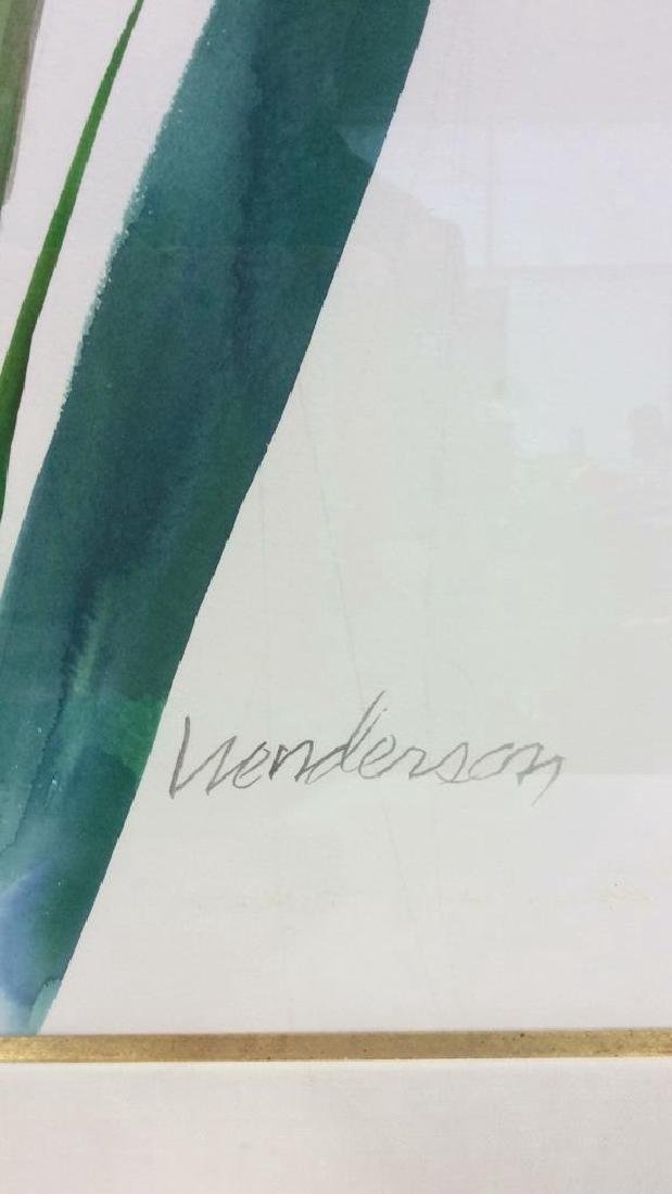 Signed Framed Henderson Floral Watercolor - 4