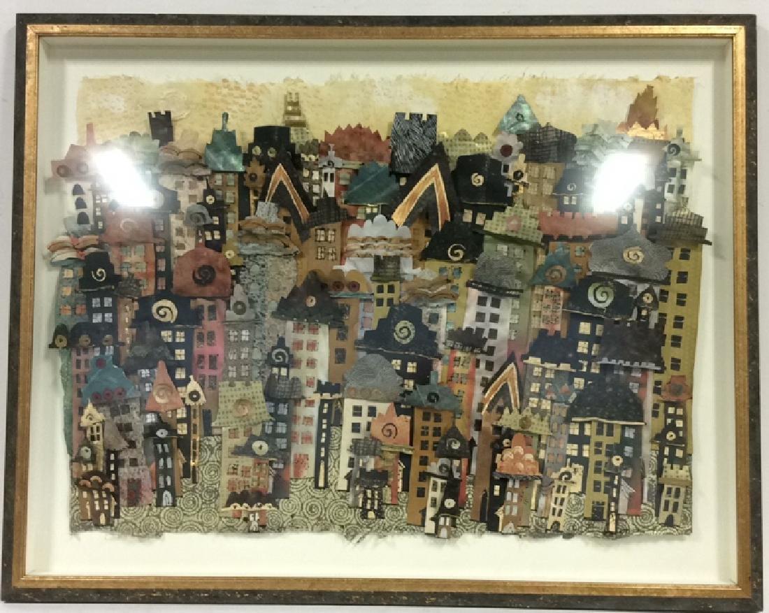 Framed 3D Signed Paper Art Cityscape Collage