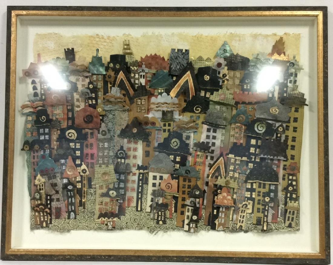 Framed 3D Signed Paper Art Cityscape Collage