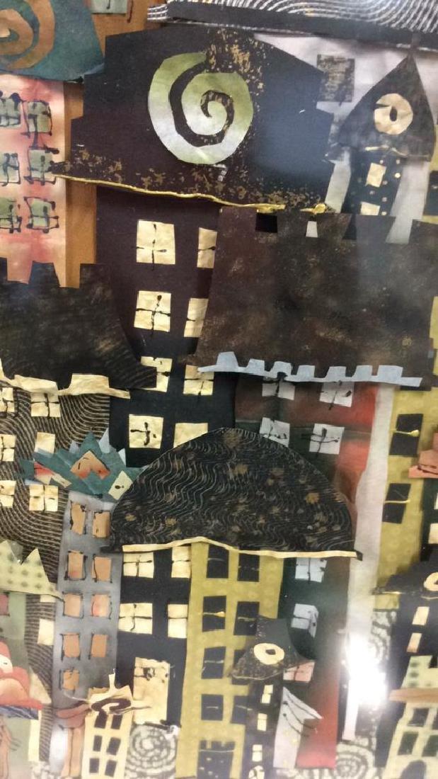 Framed 3D Signed Paper Art Cityscape Collage - 4