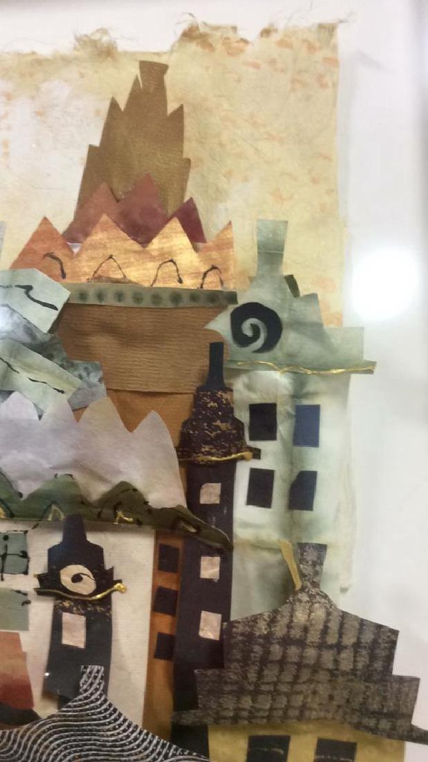 Framed 3D Signed Paper Art Cityscape Collage - 6