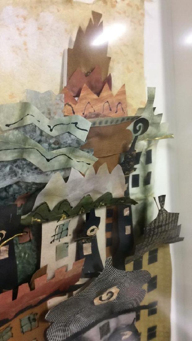 Framed 3D Signed Paper Art Cityscape Collage - 7