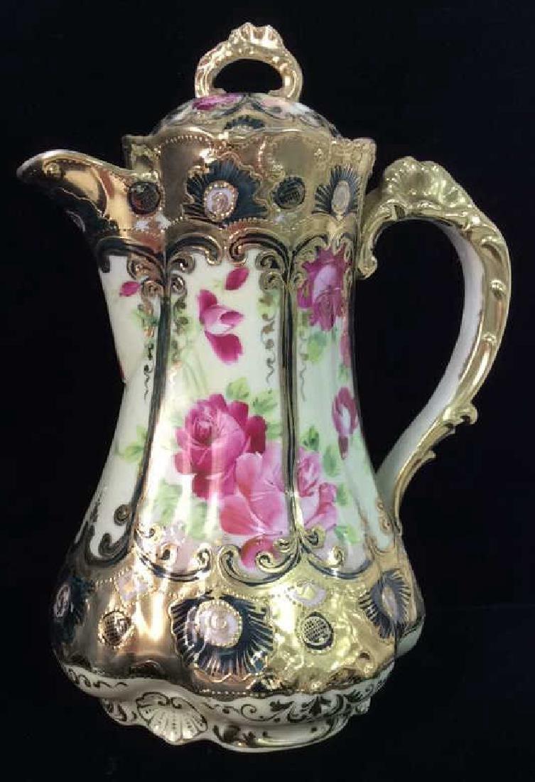 Porcelain Pitcher W Lid Floral Motif W Gold