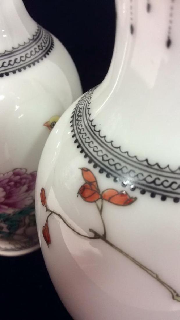 Pair Porcelain Oriental Vases - 7