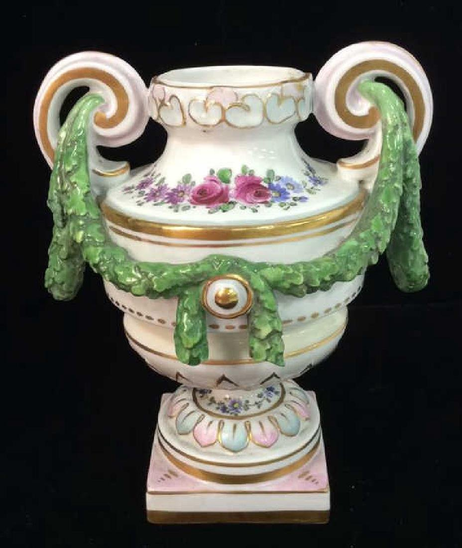 Porcelain Floral Decorated Handled Vase