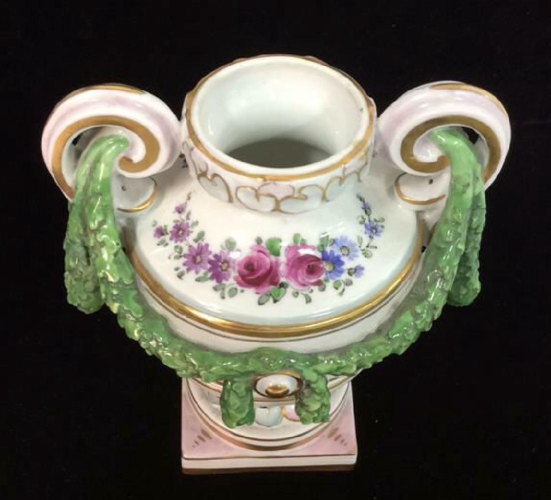 Porcelain Floral Decorated Handled Vase - 2