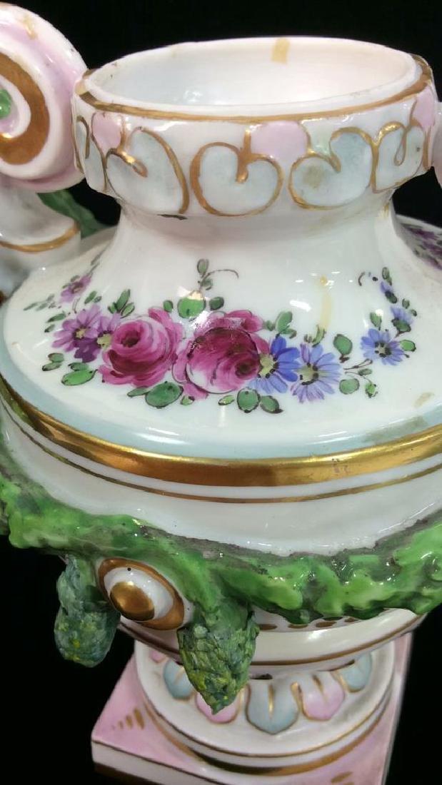 Porcelain Floral Decorated Handled Vase - 4