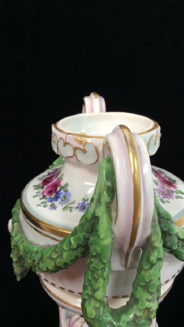 Porcelain Floral Decorated Handled Vase - 6