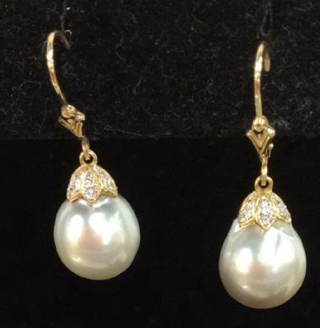 14K Gold W Hanging Pearl Earrings w Box - 4