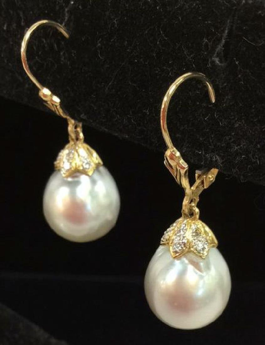 14K Gold W Hanging Pearl Earrings w Box - 5