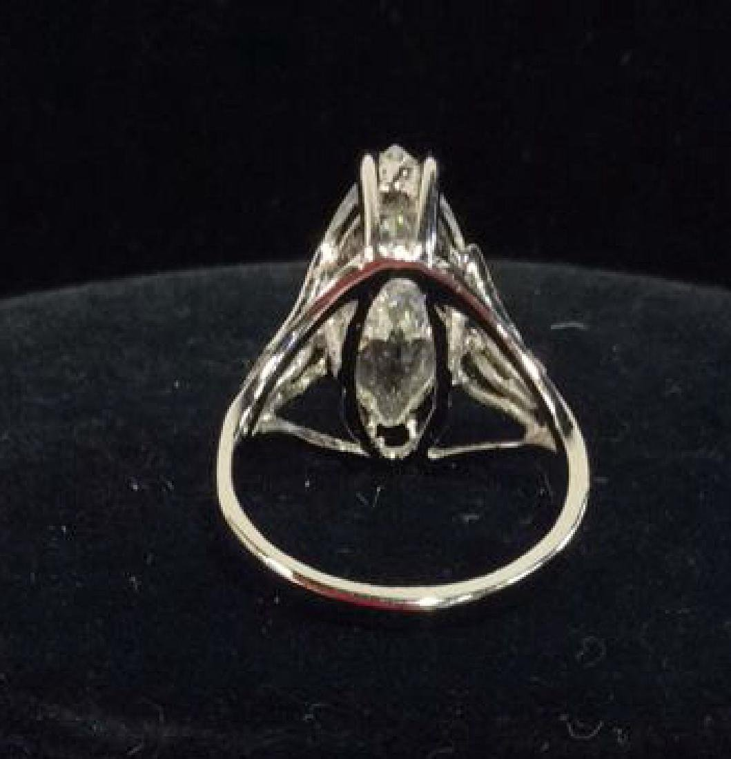 18K White Gold Plate Ring Estate Jewelry - 4