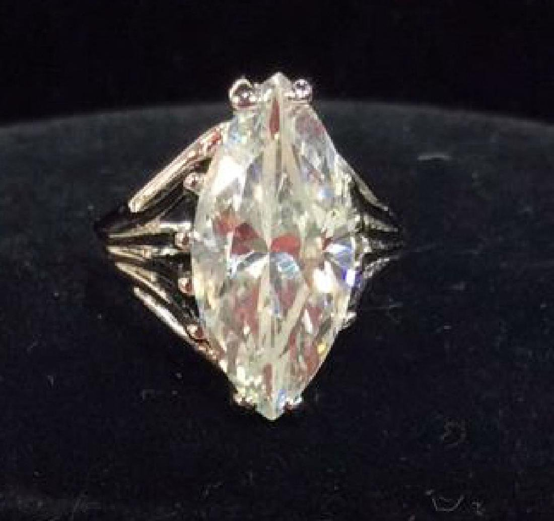 18K White Gold Plate Ring Estate Jewelry - 5