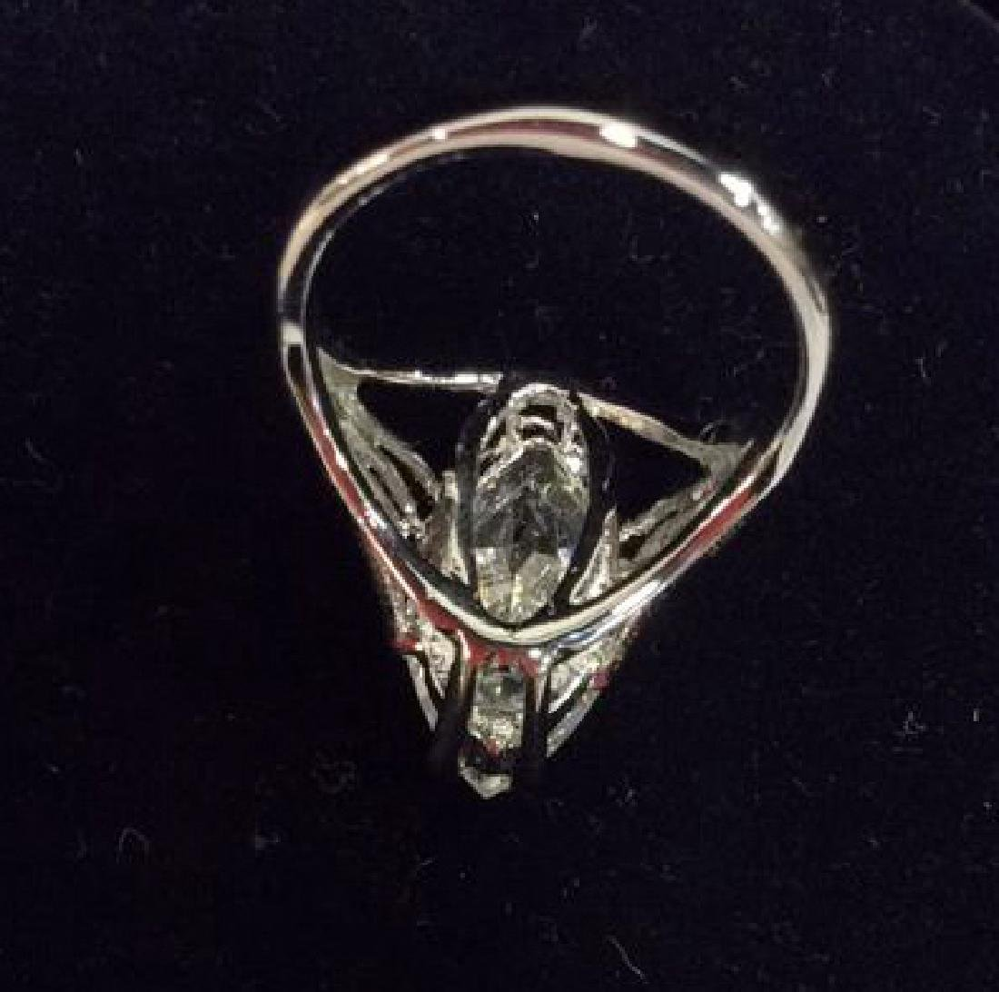 18K White Gold Plate Ring Estate Jewelry - 7