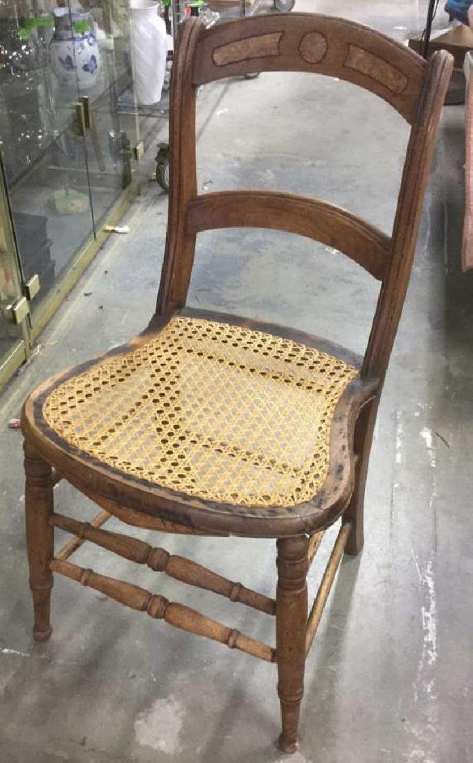 Antique Spindled Leg Chair With Caned Seat