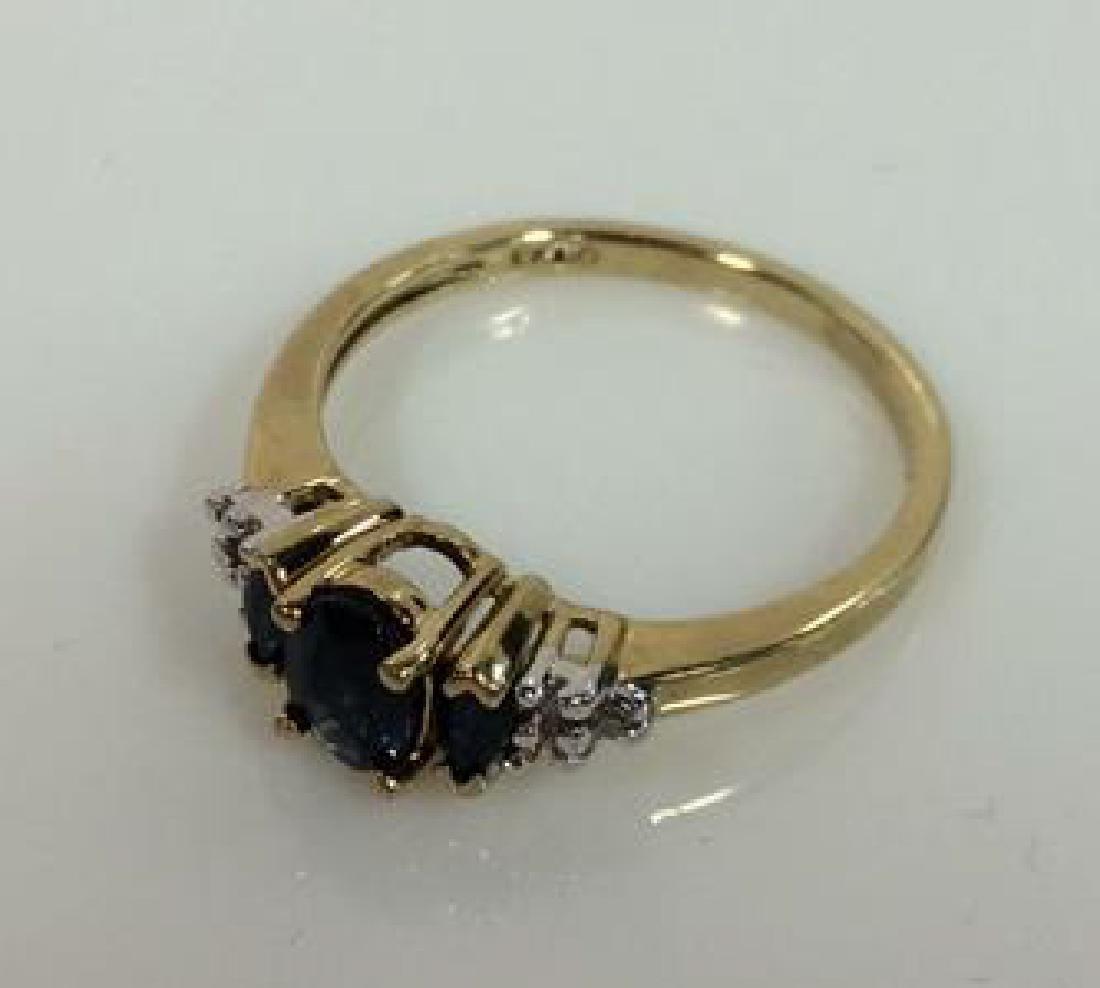 Sapphire W Round Cut Diamond Ring - 2