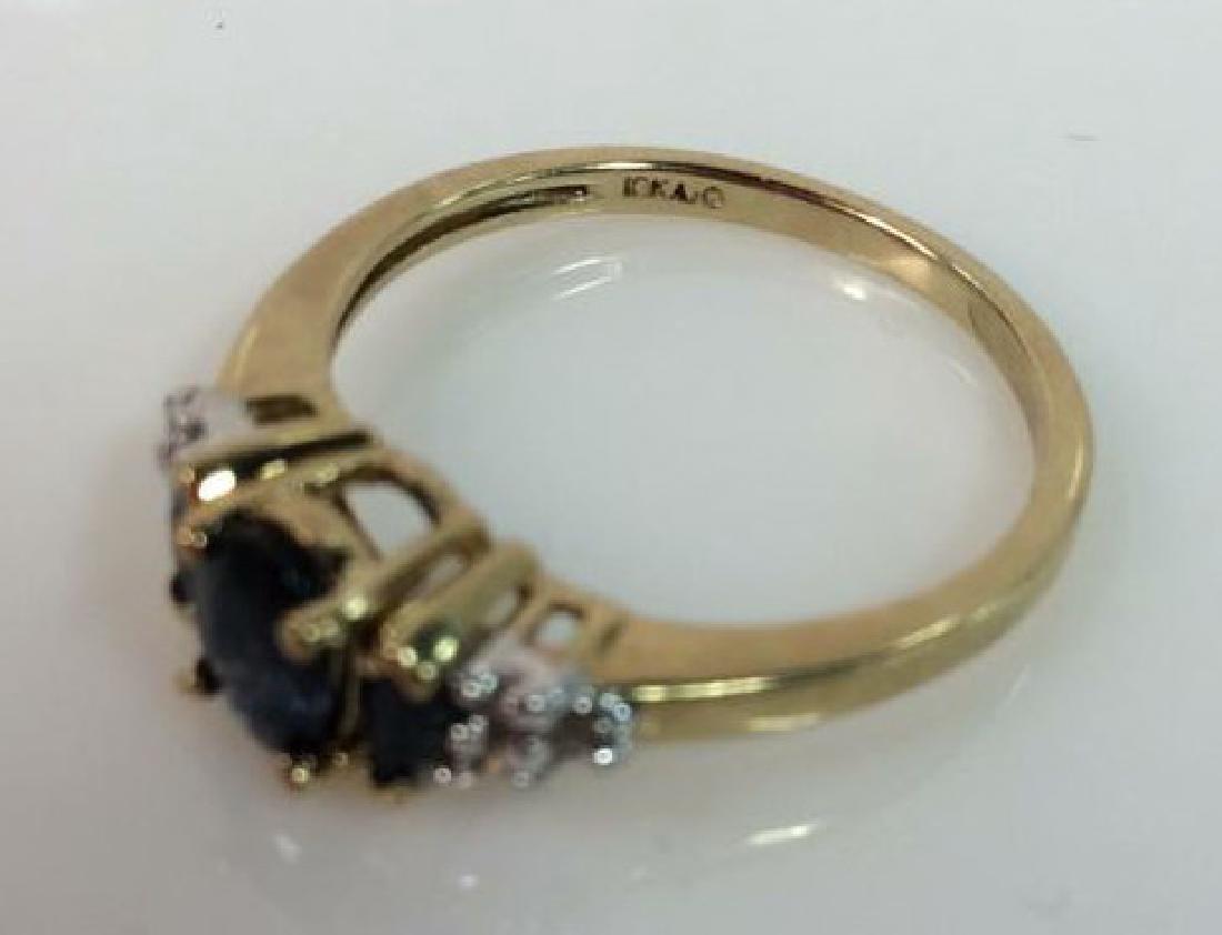 Sapphire W Round Cut Diamond Ring - 4