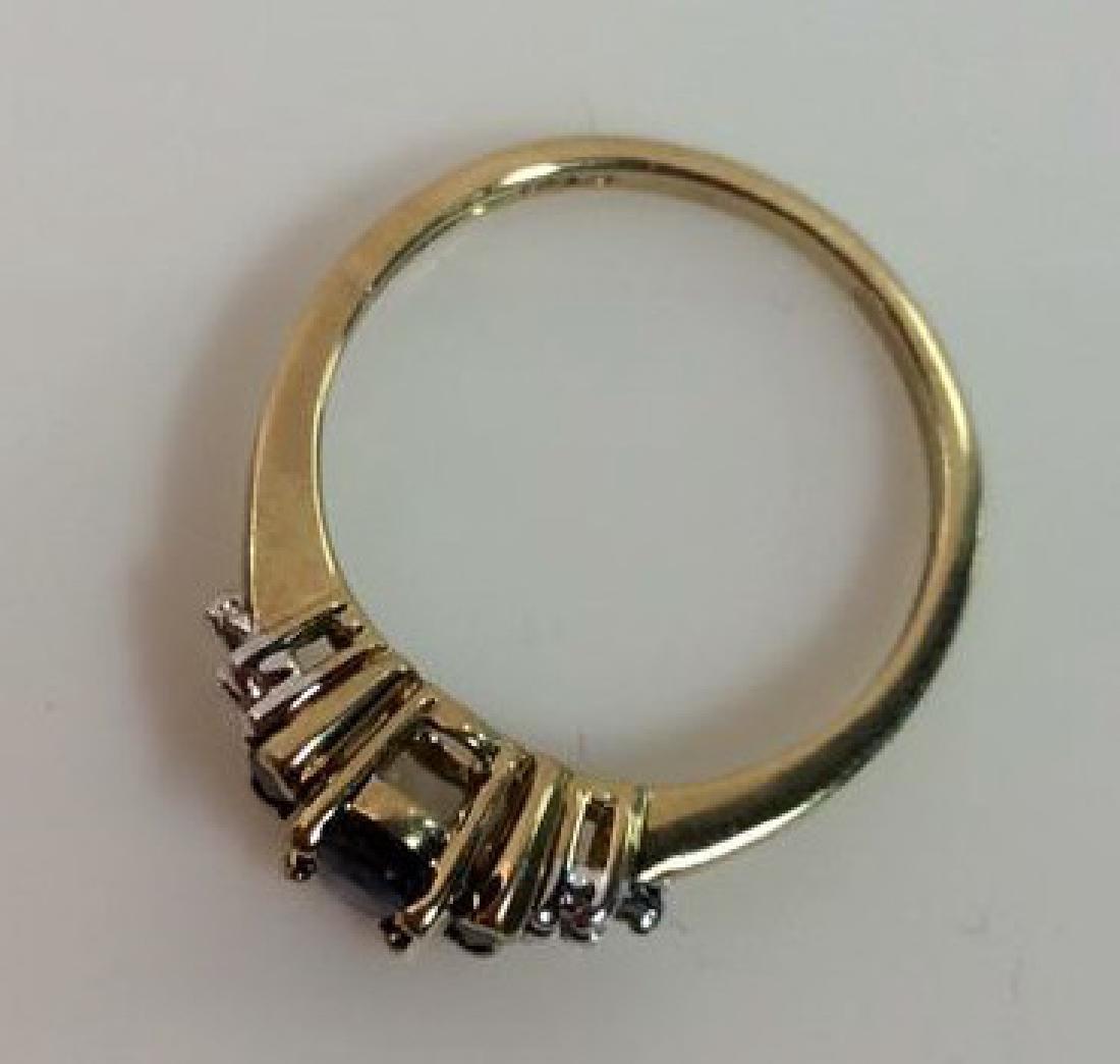Sapphire W Round Cut Diamond Ring - 5
