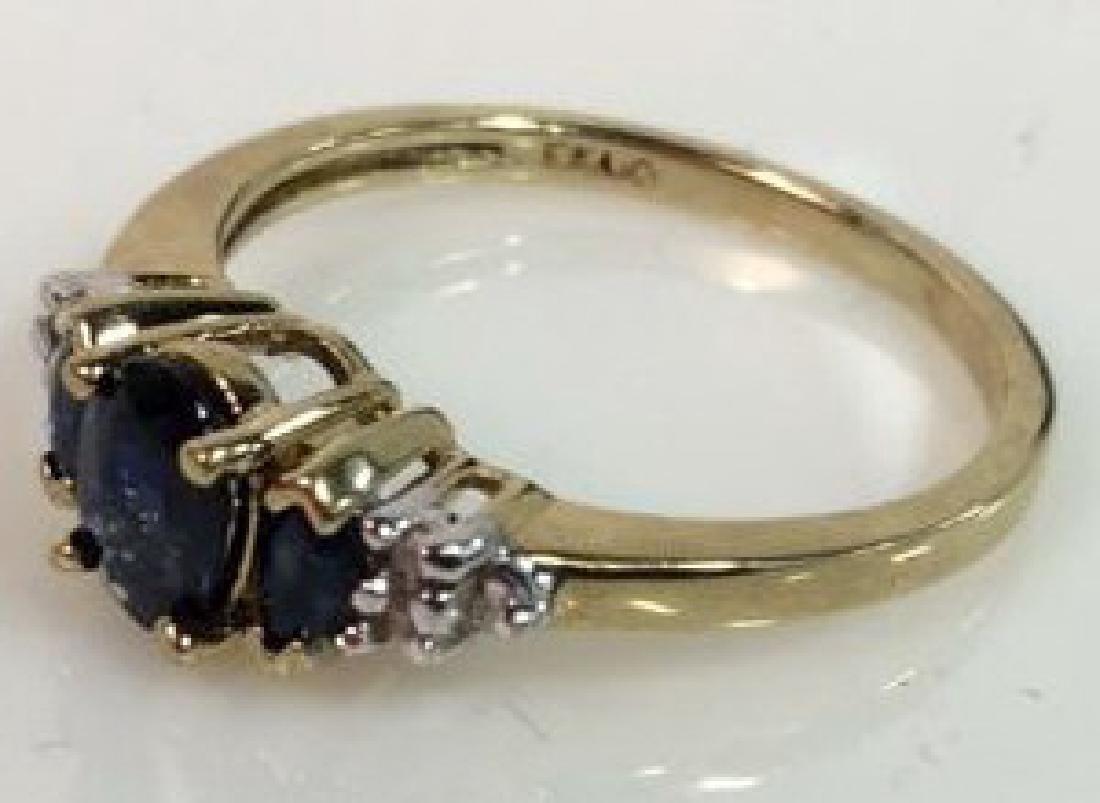 Sapphire W Round Cut Diamond Ring - 8