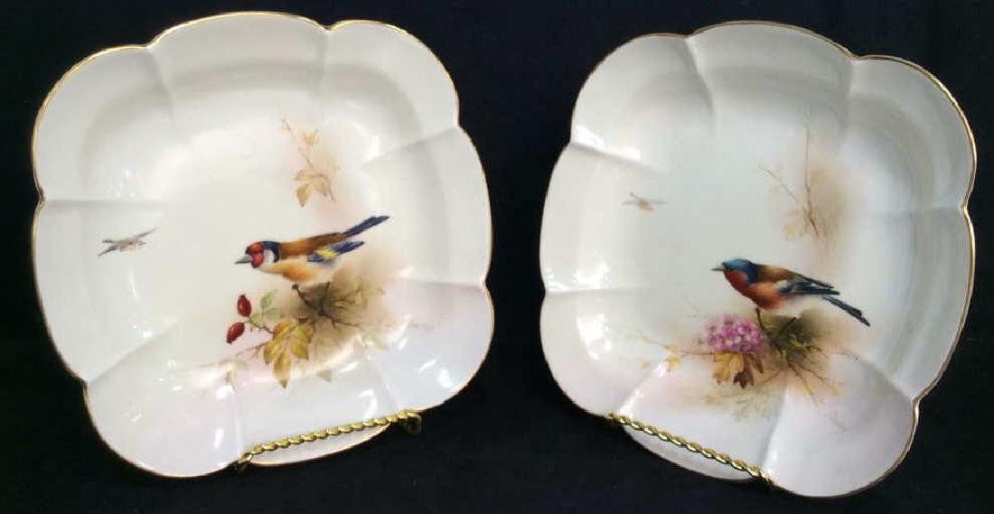 Pair ROYAL WORCESTER Chaffinch Painted Plates