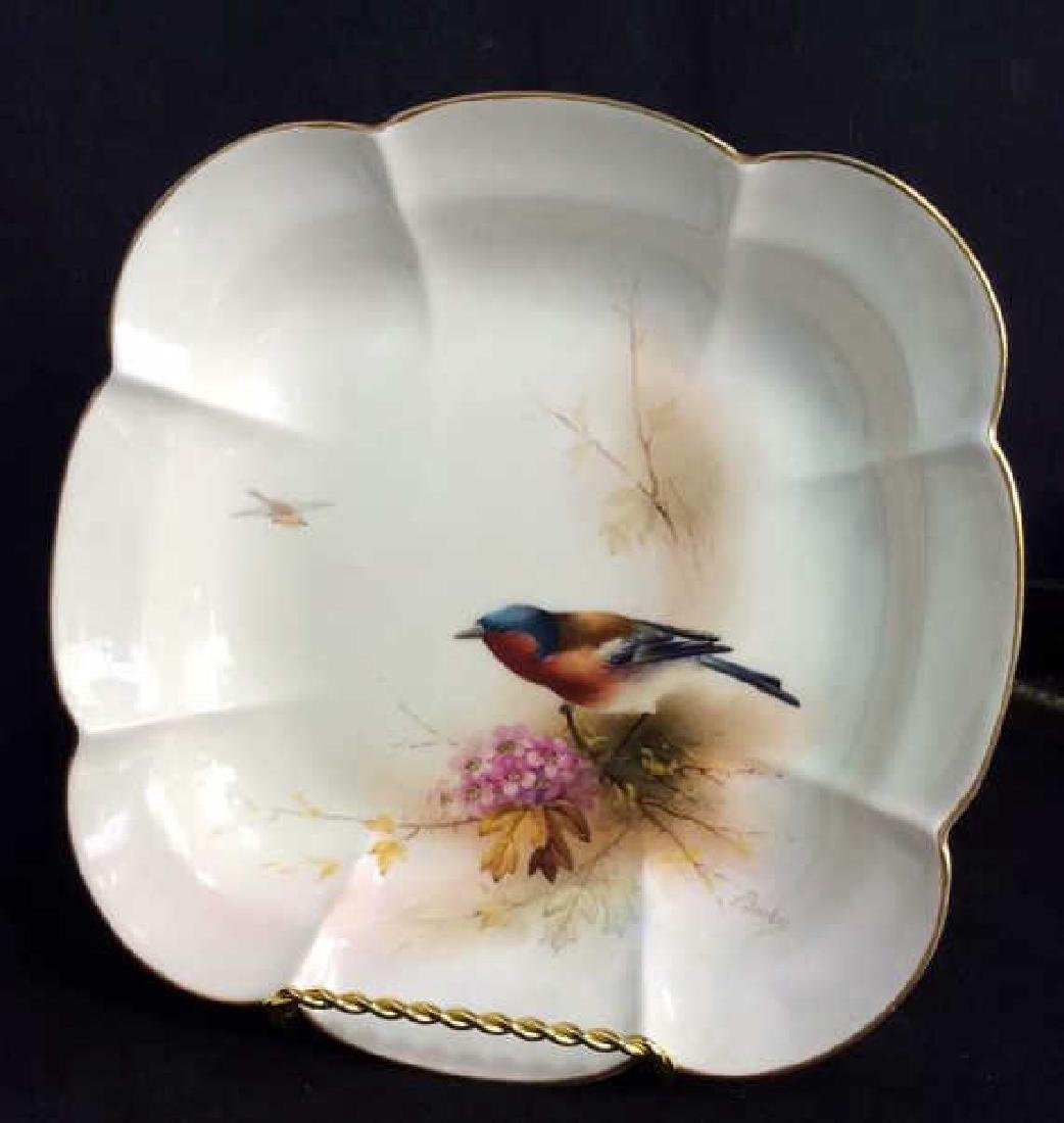 Pair ROYAL WORCESTER Chaffinch Painted Plates - 4