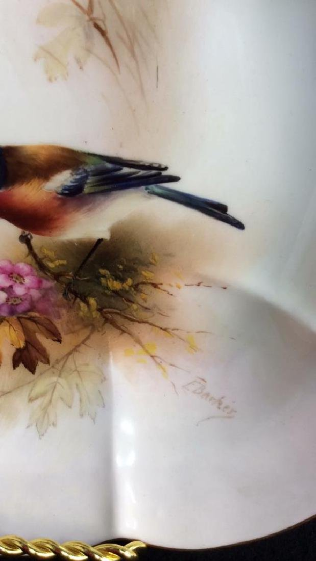 Pair ROYAL WORCESTER Chaffinch Painted Plates - 6