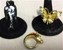 Group Lot 3 Animal Theme Rings Jewelry
