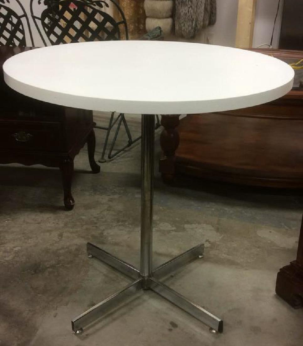 White Formica Chrome Vintage Pedestal Dining Table