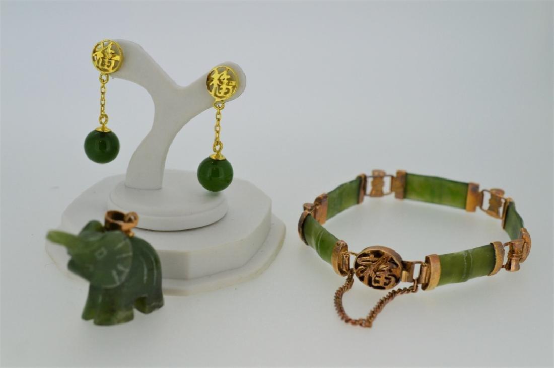 Jade Bamboo Bracelet with Pendant & Earrings